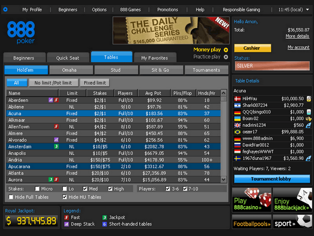 Example of 888 Poker Room